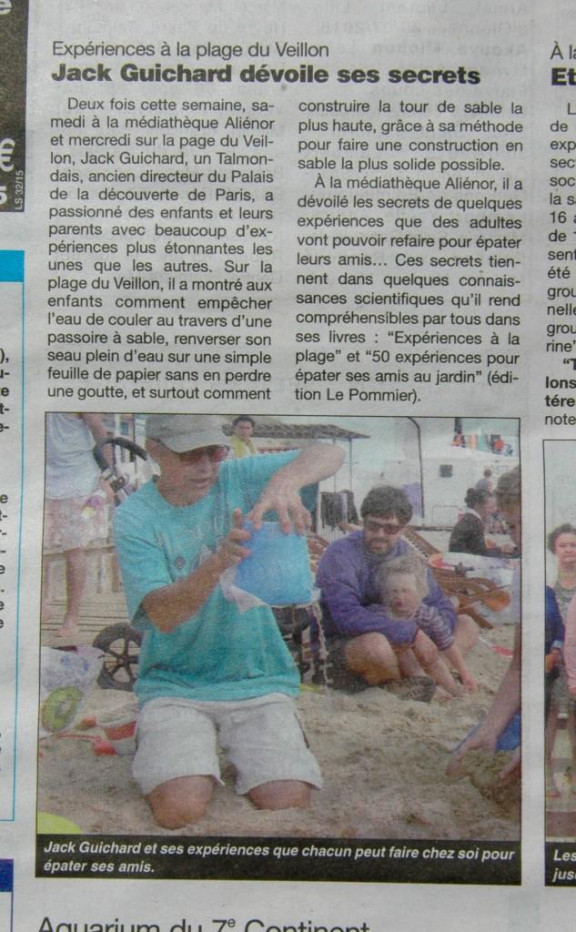 journal des sables 6 aout 2015 jack plage
